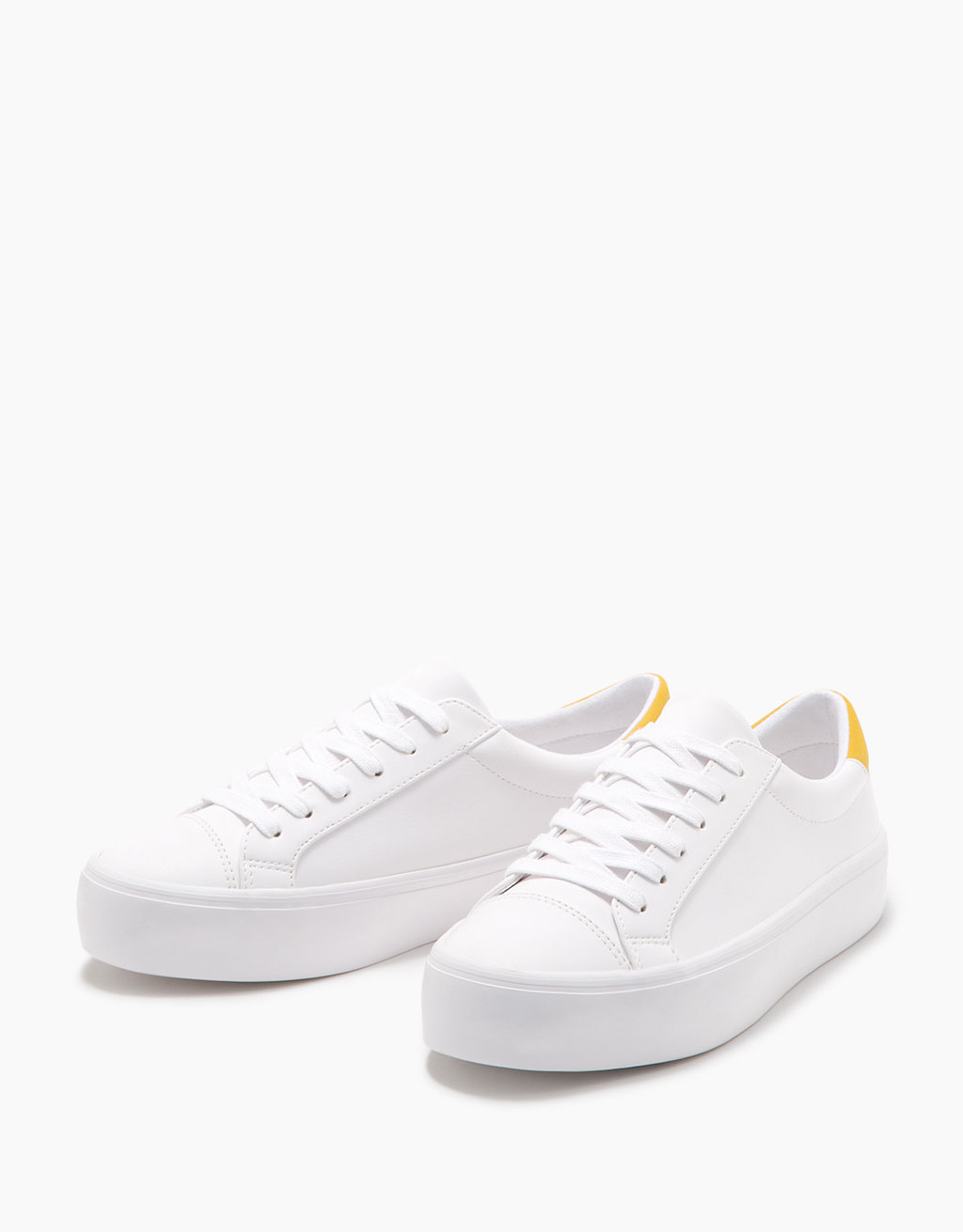 Lace-up platform sneakers with yellow detail