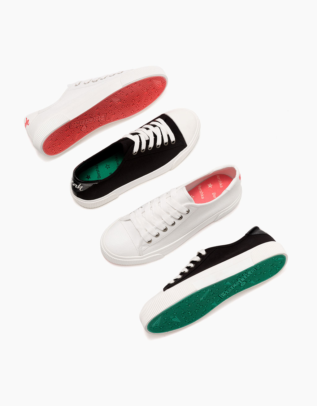 Lace-up fabric sneakers with rubber toe cap