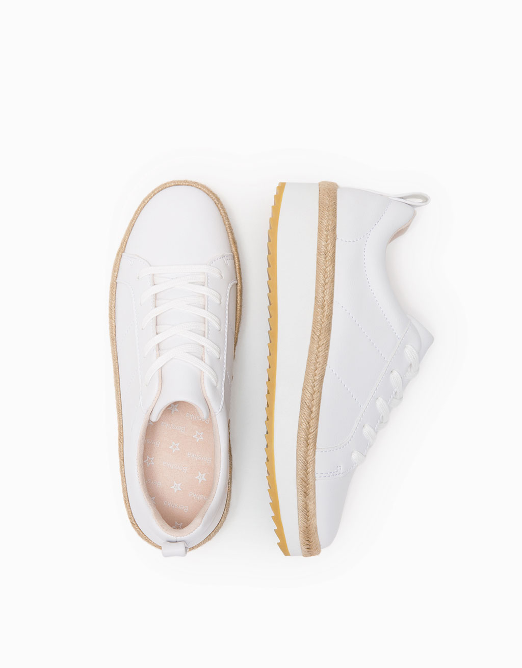 Lace-up jute wedge sneakers