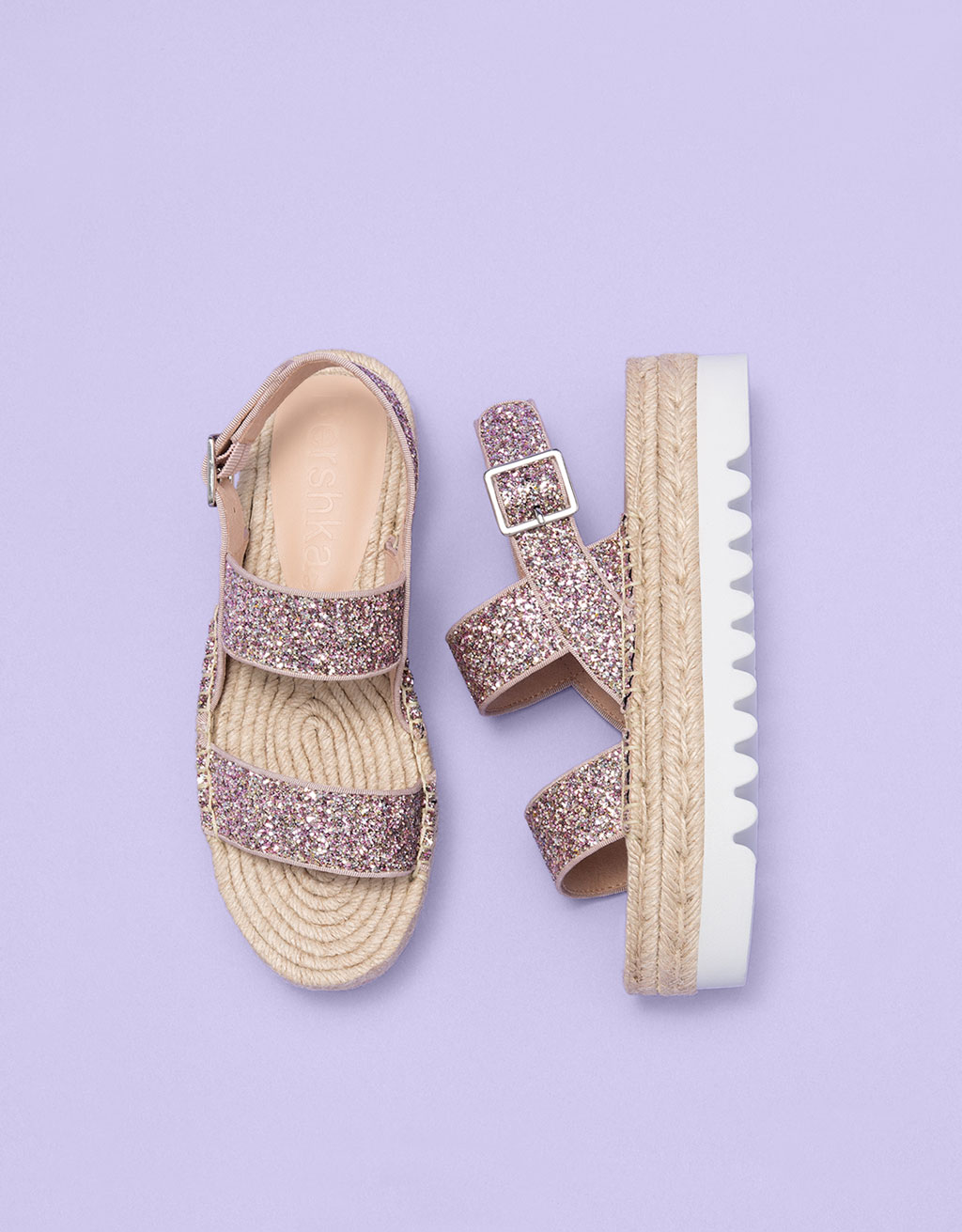 Jute platform sandals with sparkle