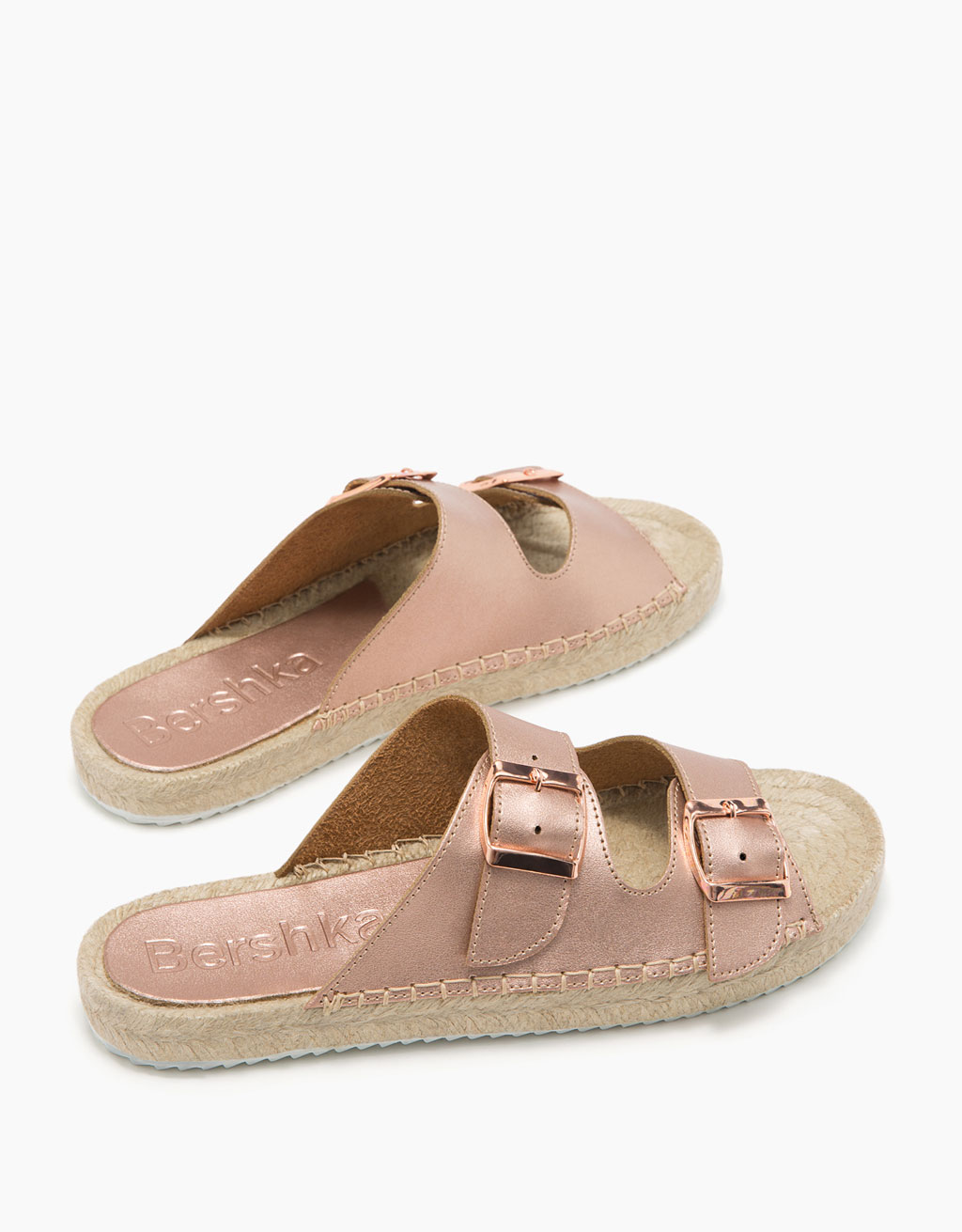 Metallic jute flat sandals with buckles