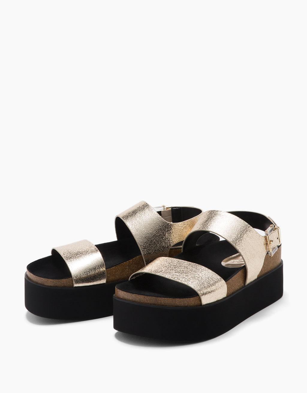 Metallic bio platform sandals