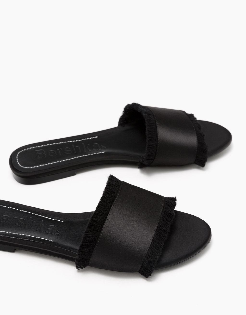 Satin flat slides with fringing