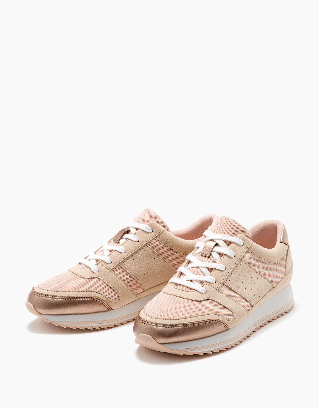 Lace-up sneakers with metallic detail
