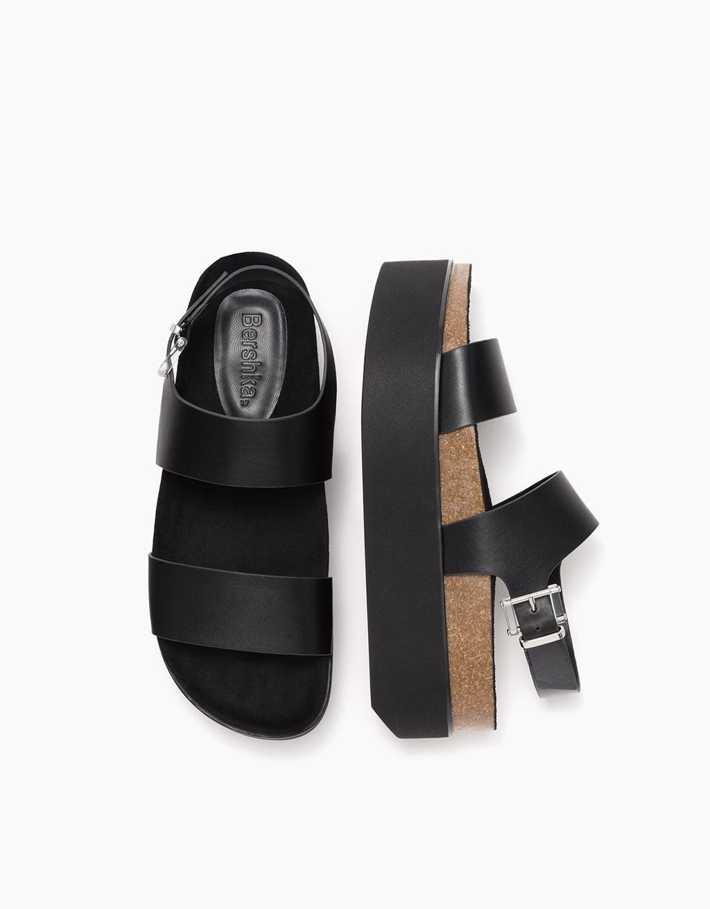 Bio platform sandals with buckle