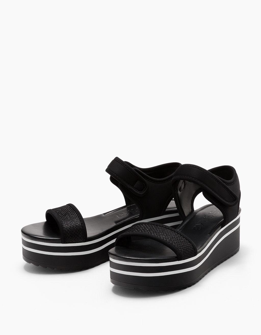 Platform sandals with shiny straps