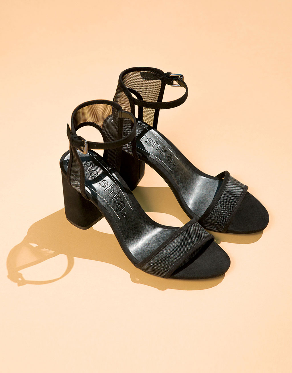 Mesh mid-heel sandals with ankle straps