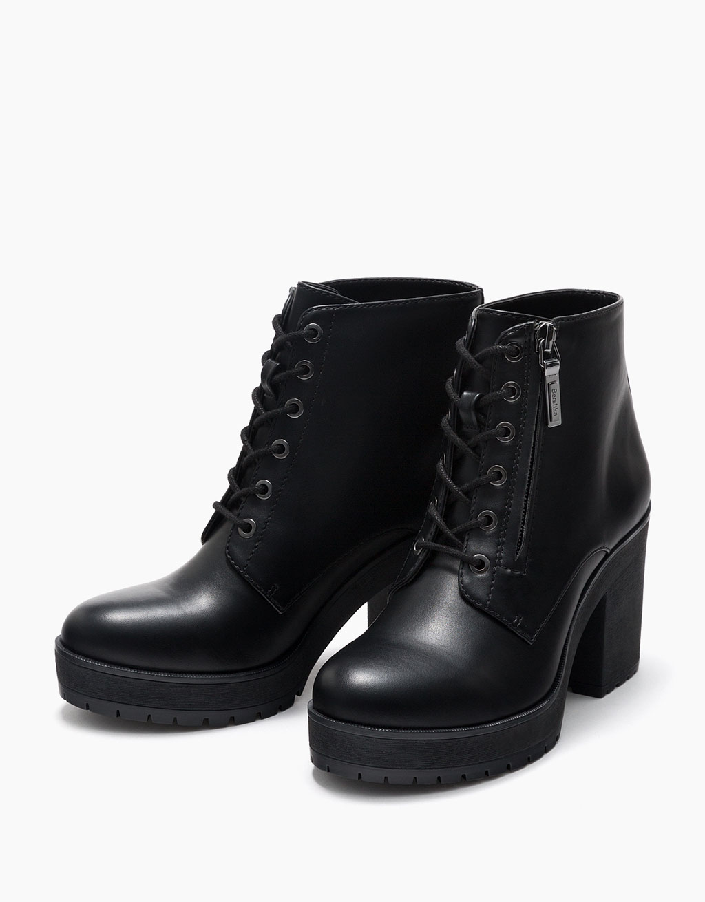 Mid heel lace-up and zip ankle boots