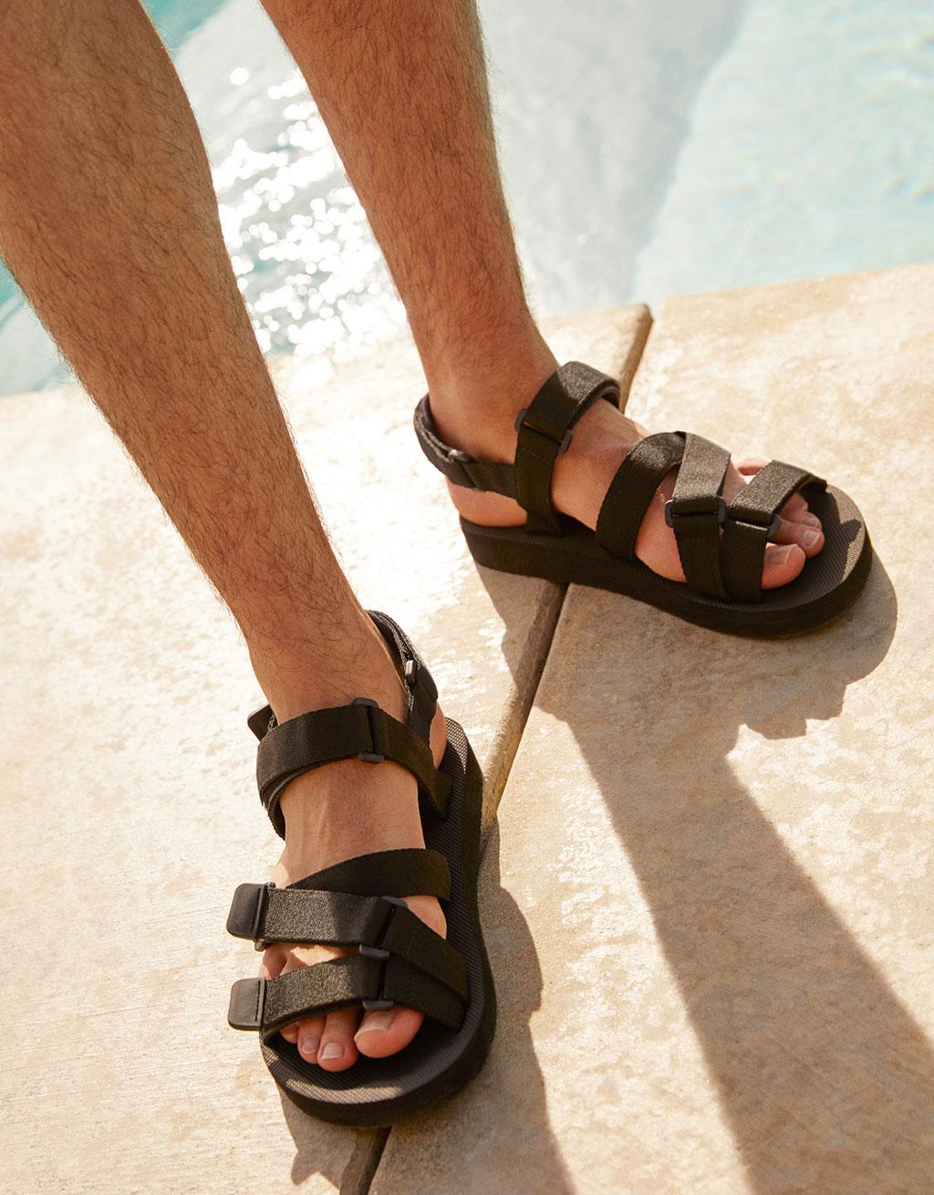 Sandalia deportiva negra tejido hombre