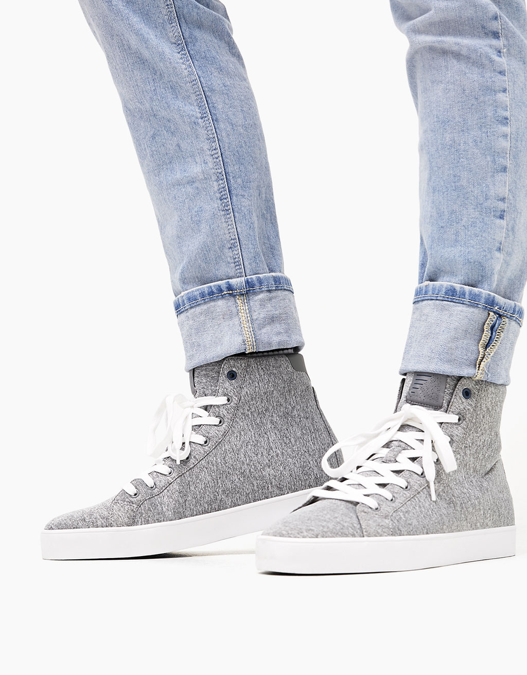 Men's neoprene lace-up high top sneakers
