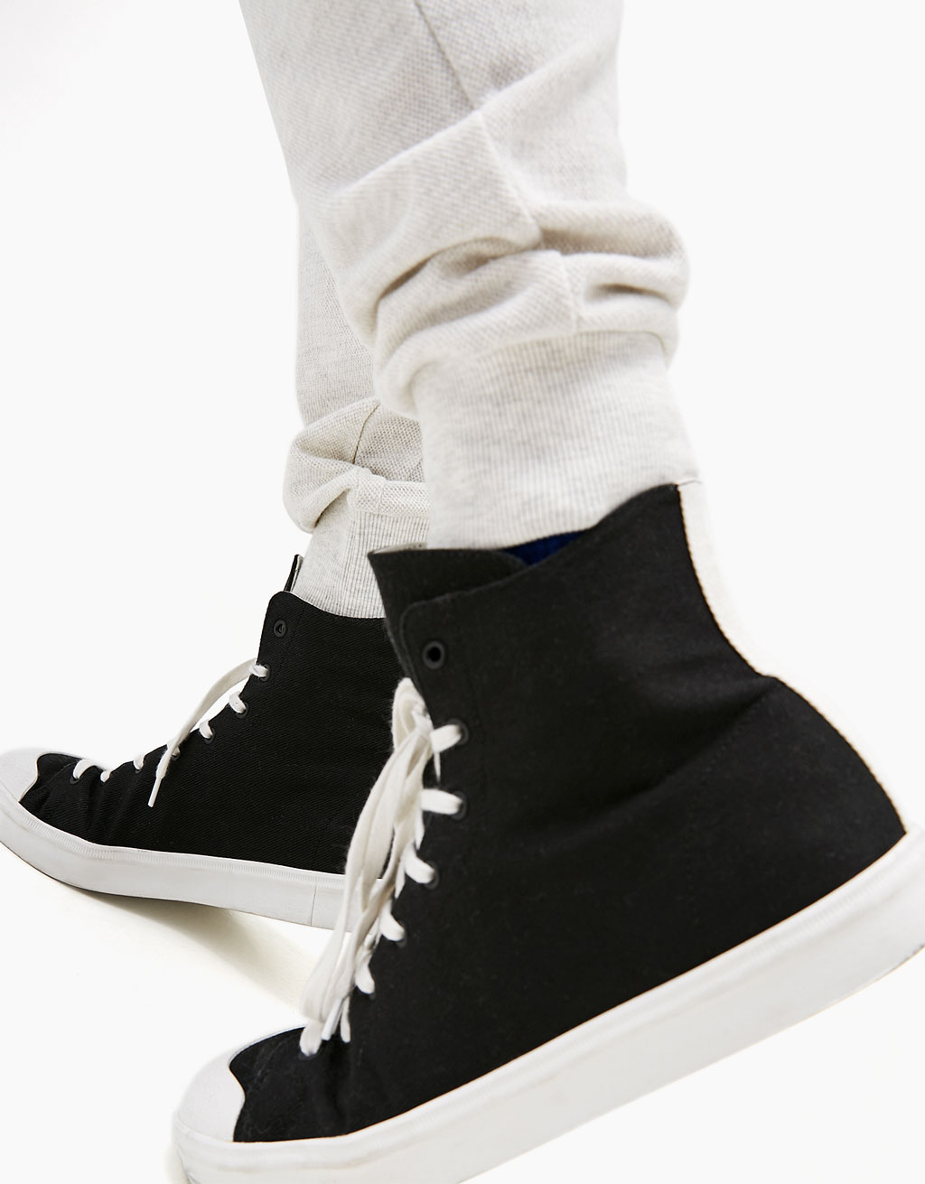 Men's fabric high-top sneakers with rubber toe
