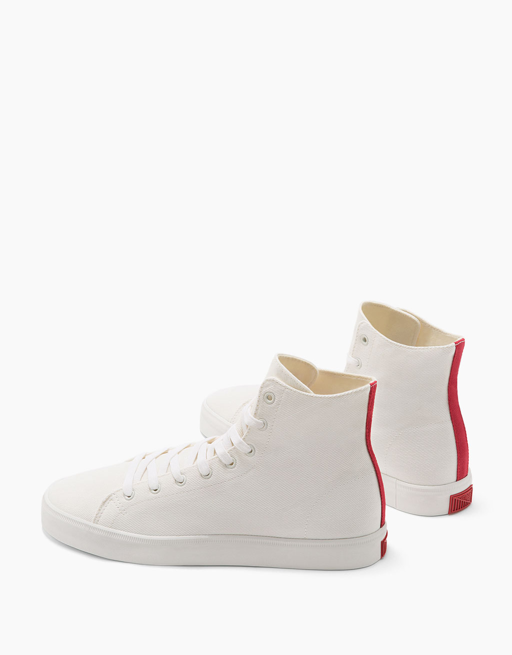 Men's fabric high-top sneakers with coloured heel detail