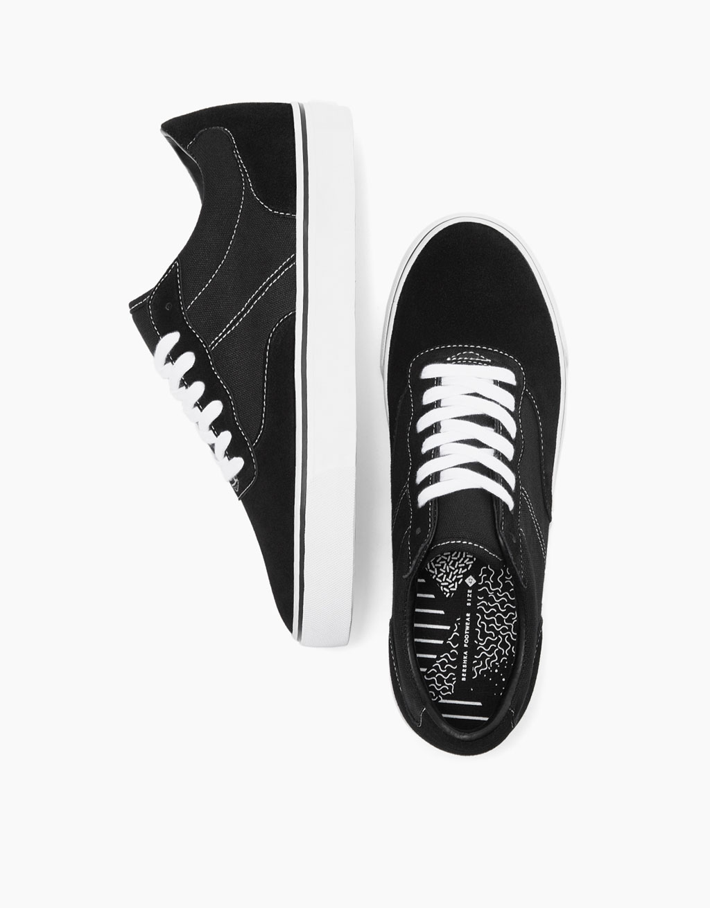 Men's topstitched lace-up sneakers