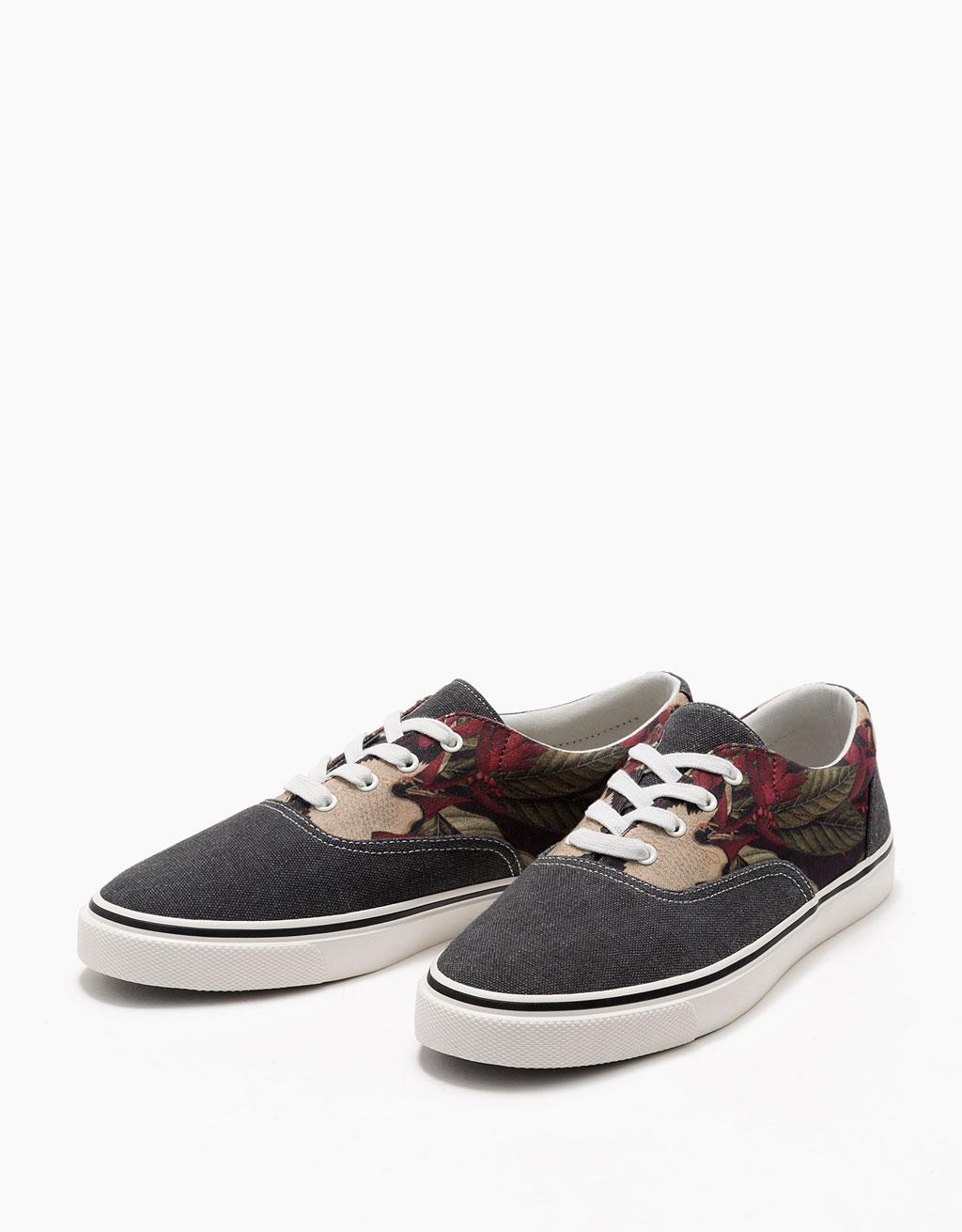 Men's floral print fabric sneakers
