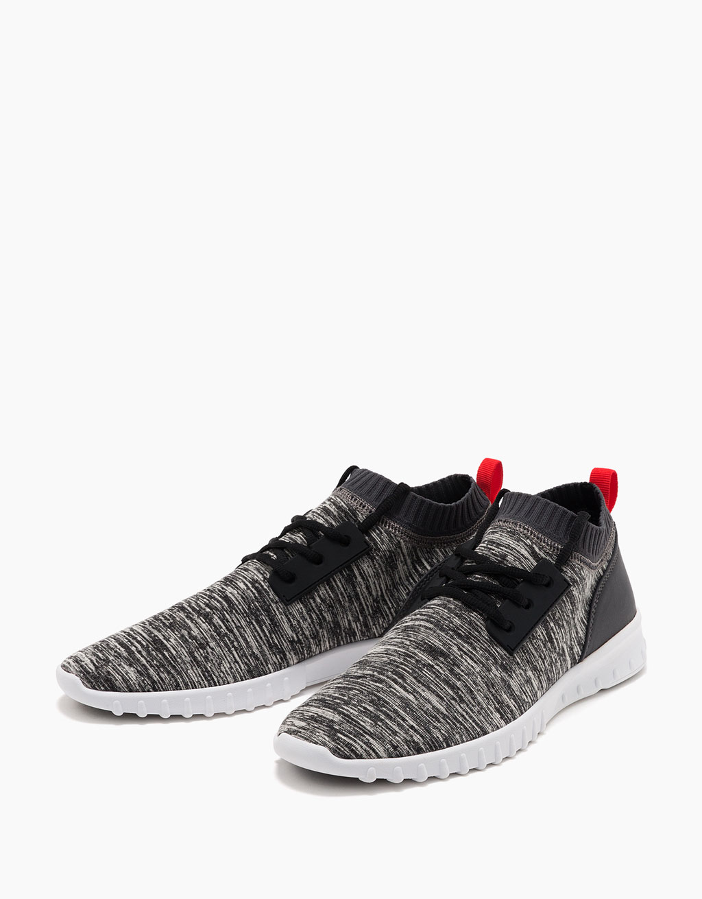 Men's contrast lace-up sneakers with top stitching
