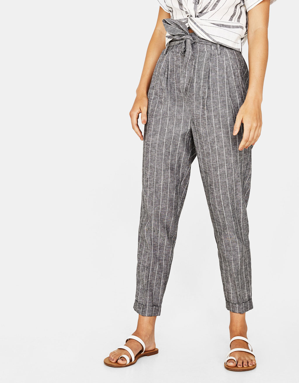 Linen paperbag trousers