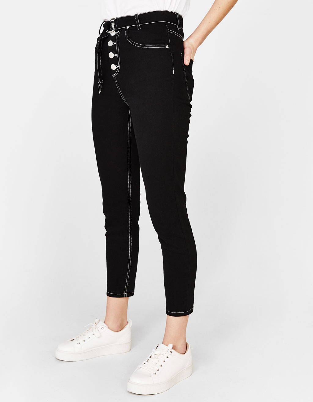 High-rise pants with contrasting seams