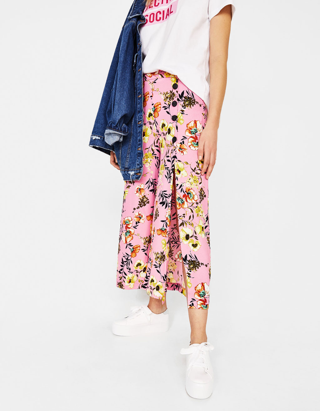 Floral wide-leg culottes with buttons