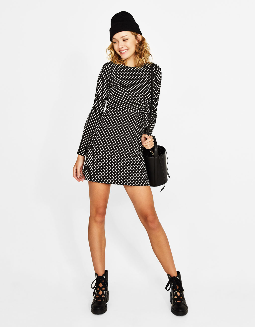 Short polka dot dress with knot detail