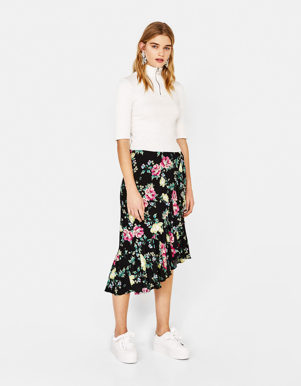 Asymmetric skirt with floral print