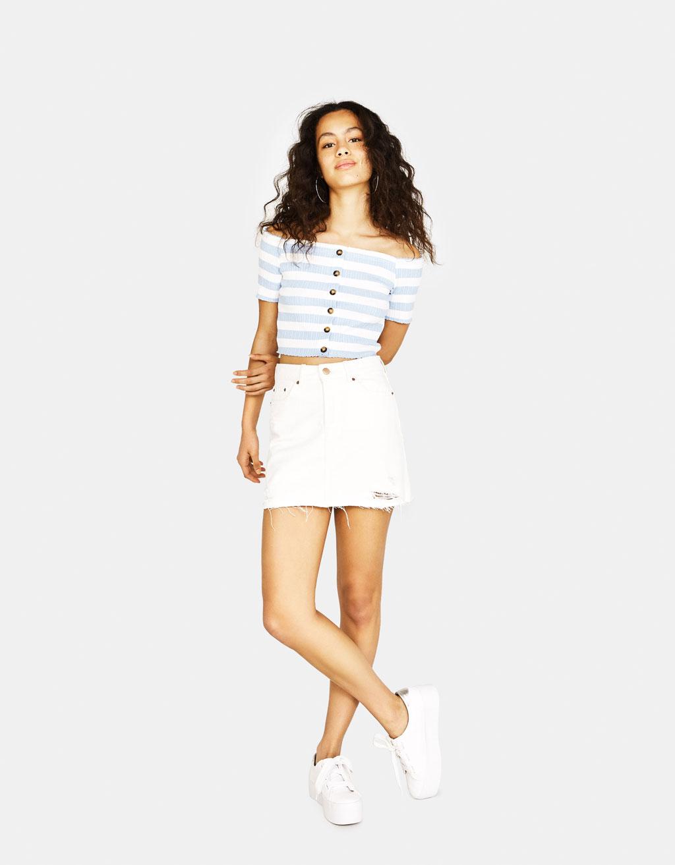 Vintage-style denim skirt