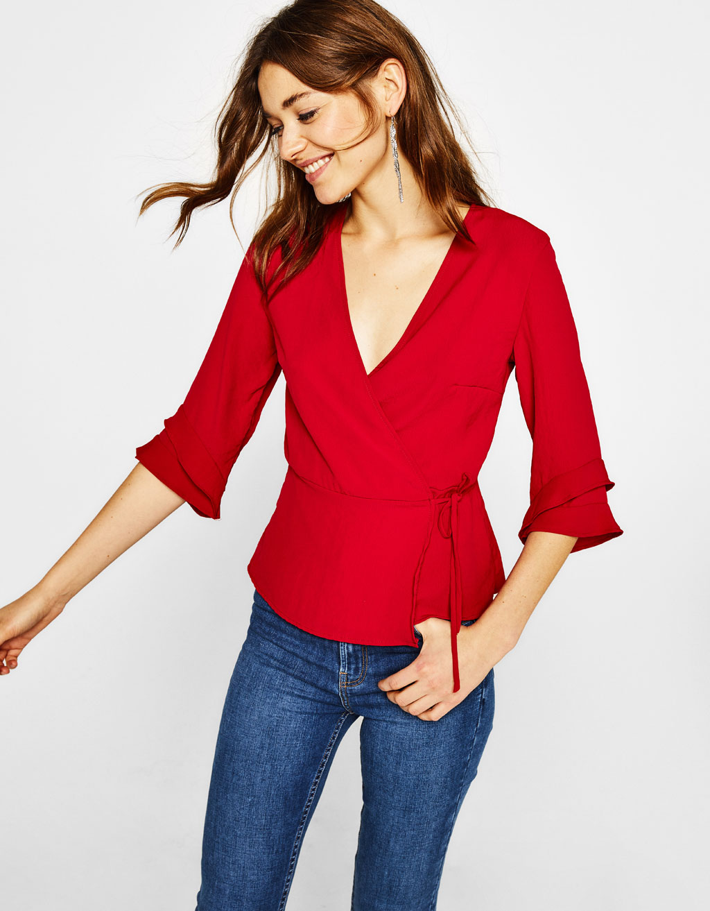 Crossover shirt with 3/4 length sleeves