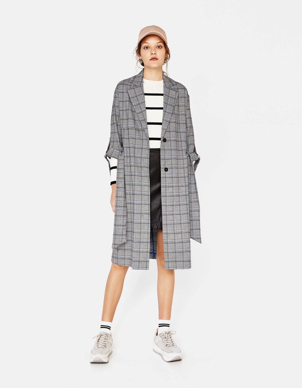 Checked tailored trench coat