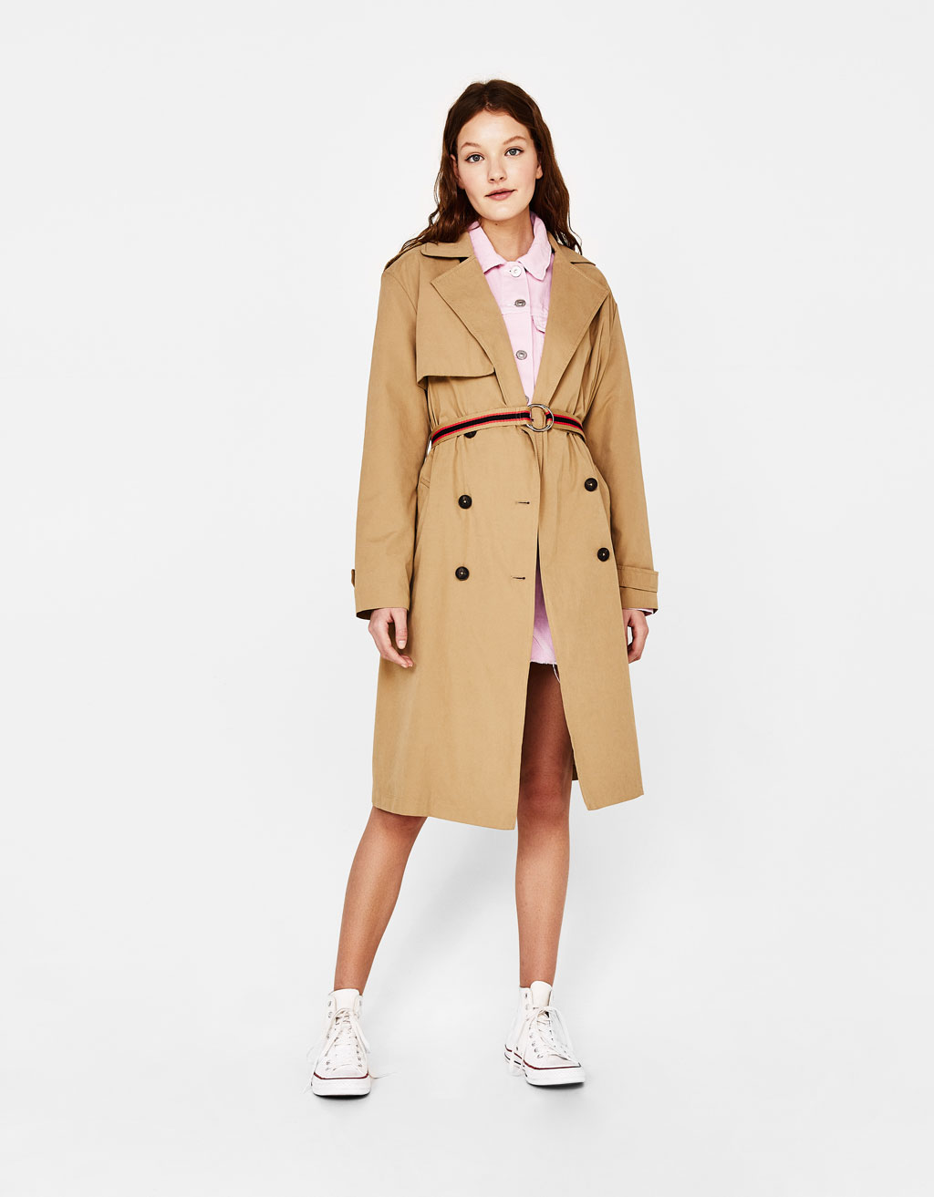 Trench coat with striped belt