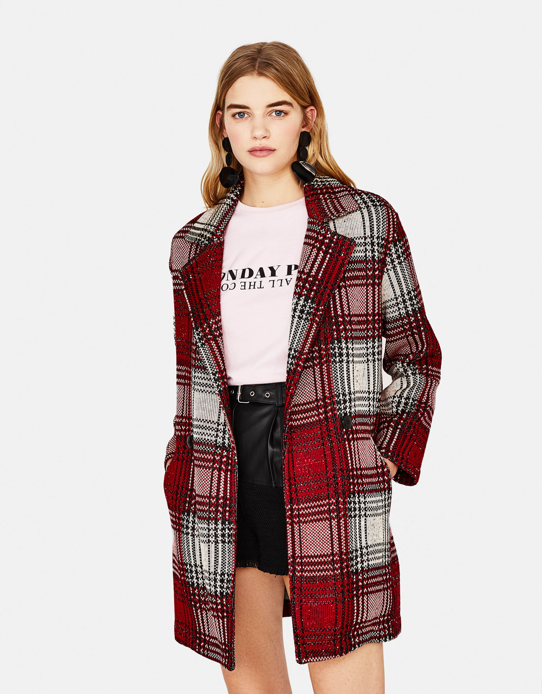 Long checked jacket