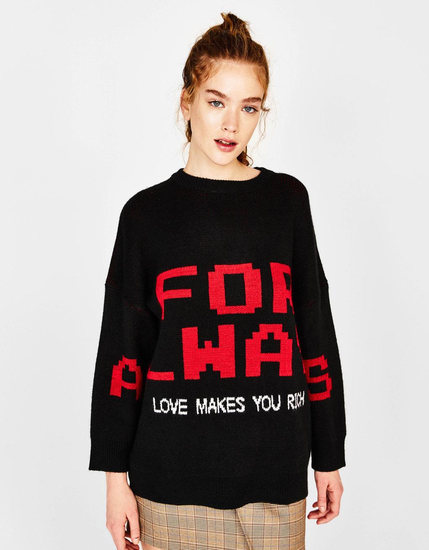 テキスト入りオーバーサイズセーター