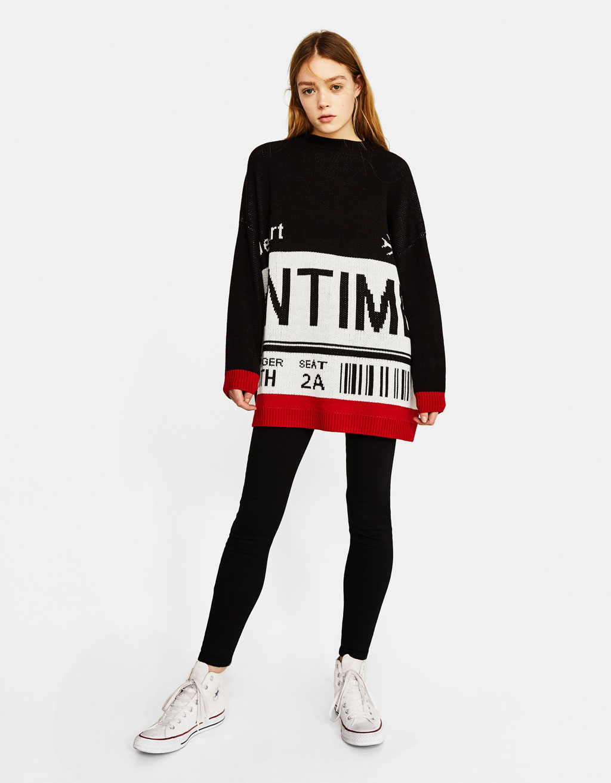ジャガード織りオーバーサイズセーター