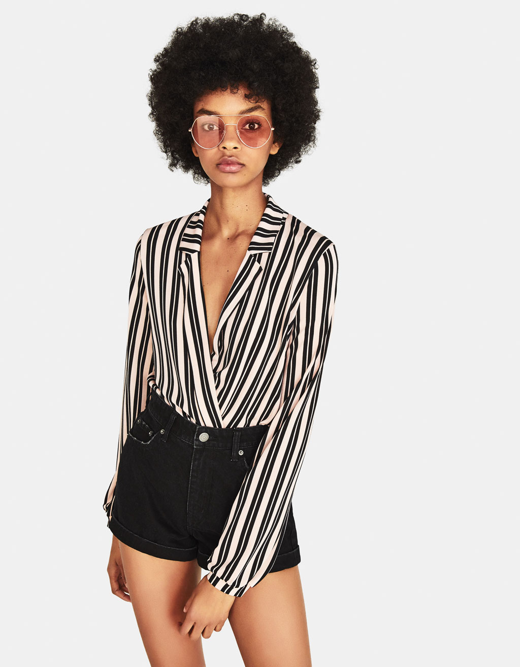 Bodysuit with lapel collar
