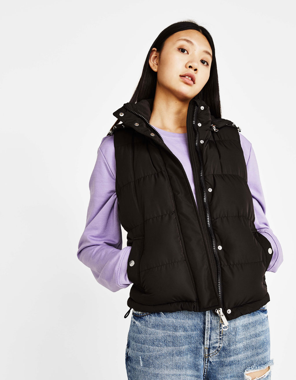 Puffer gilet with hood
