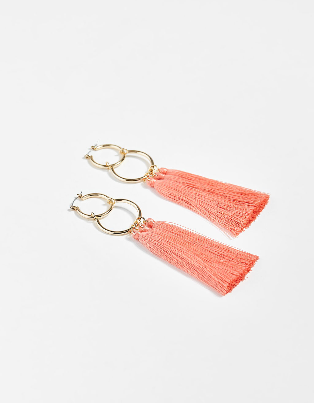 Fringed double hoop earrings