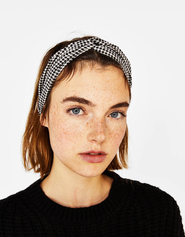 Checked turban-style headband