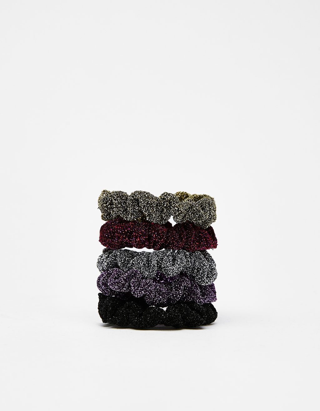 Set of shimmer thread scrunchies