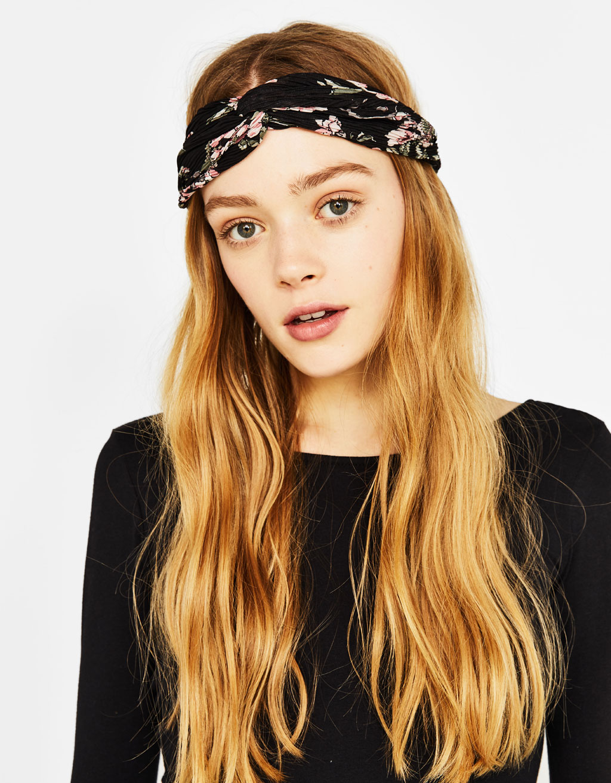 Floral print turban-style headband
