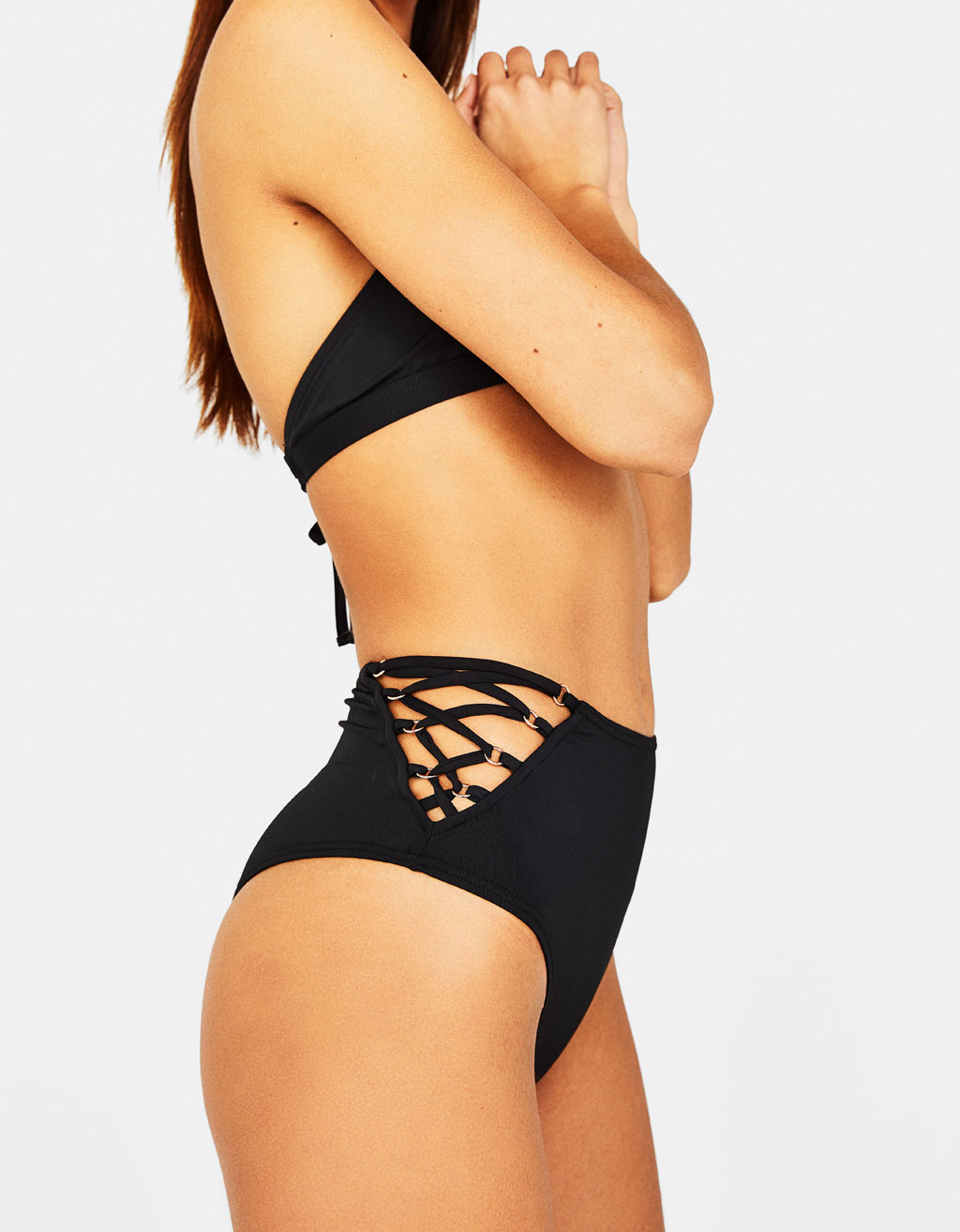 High-rise bikini bottoms with eyelets