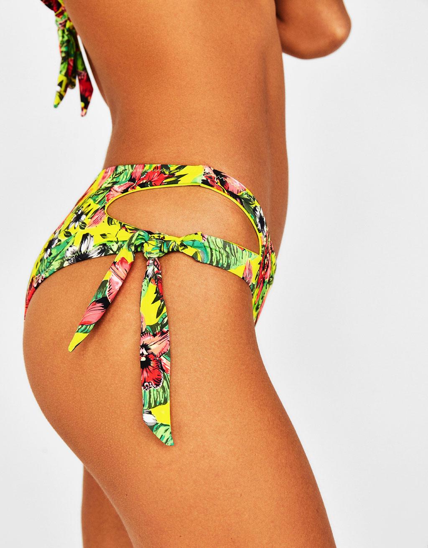 Tropical high-rise bikini bottoms