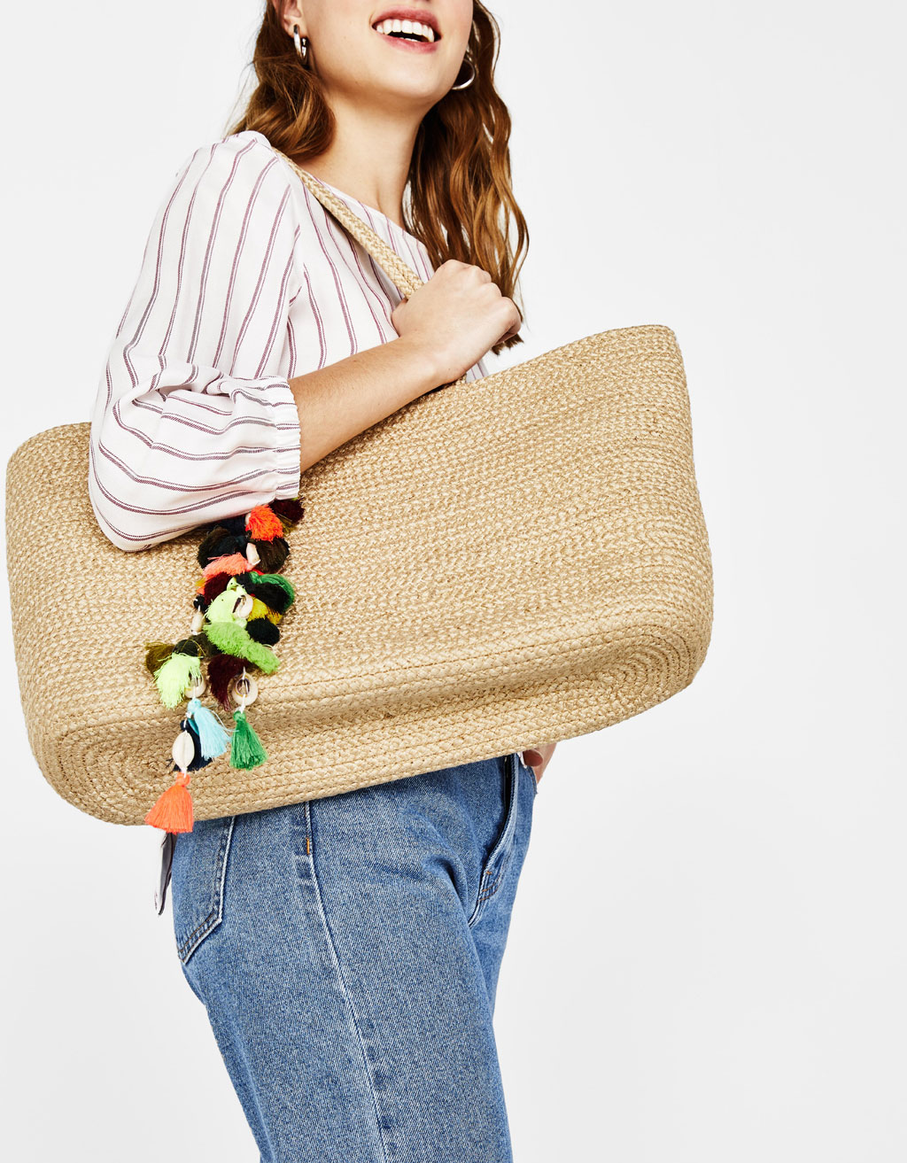 Jute tote bag with tassels