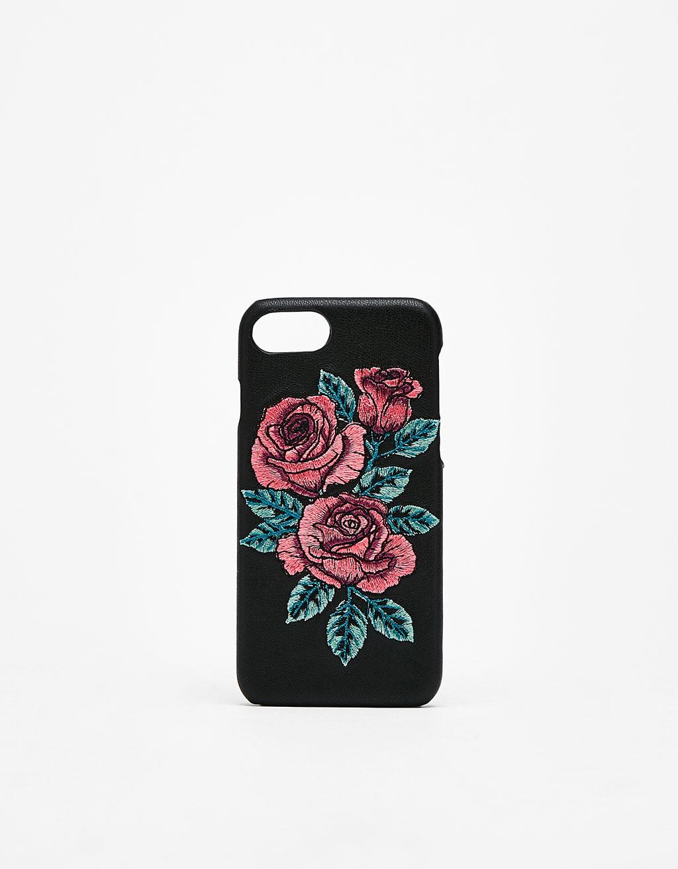 Coque avec broderie roses iPhone 6/6s/7/8