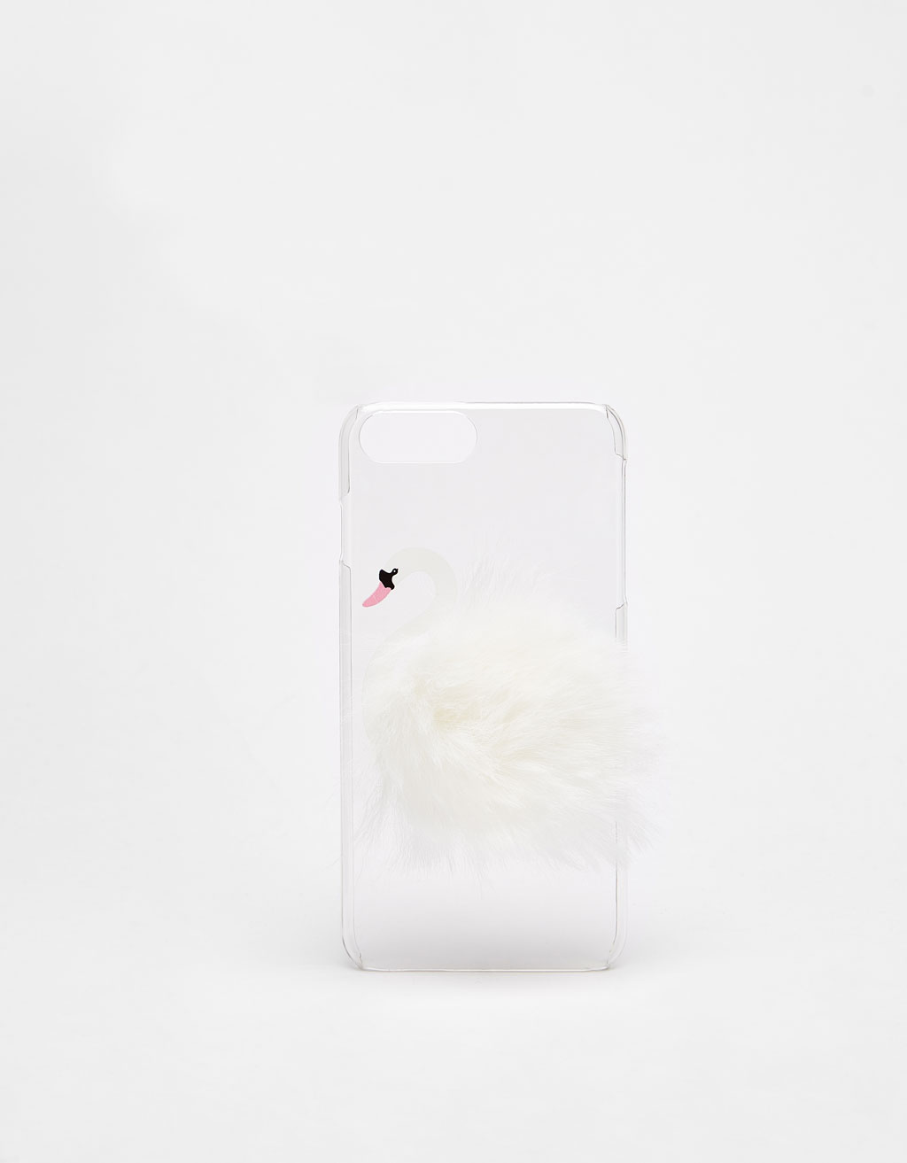 Swan-shaped iPhone 6 Plus/7 Plus/8 Plus case with pompom