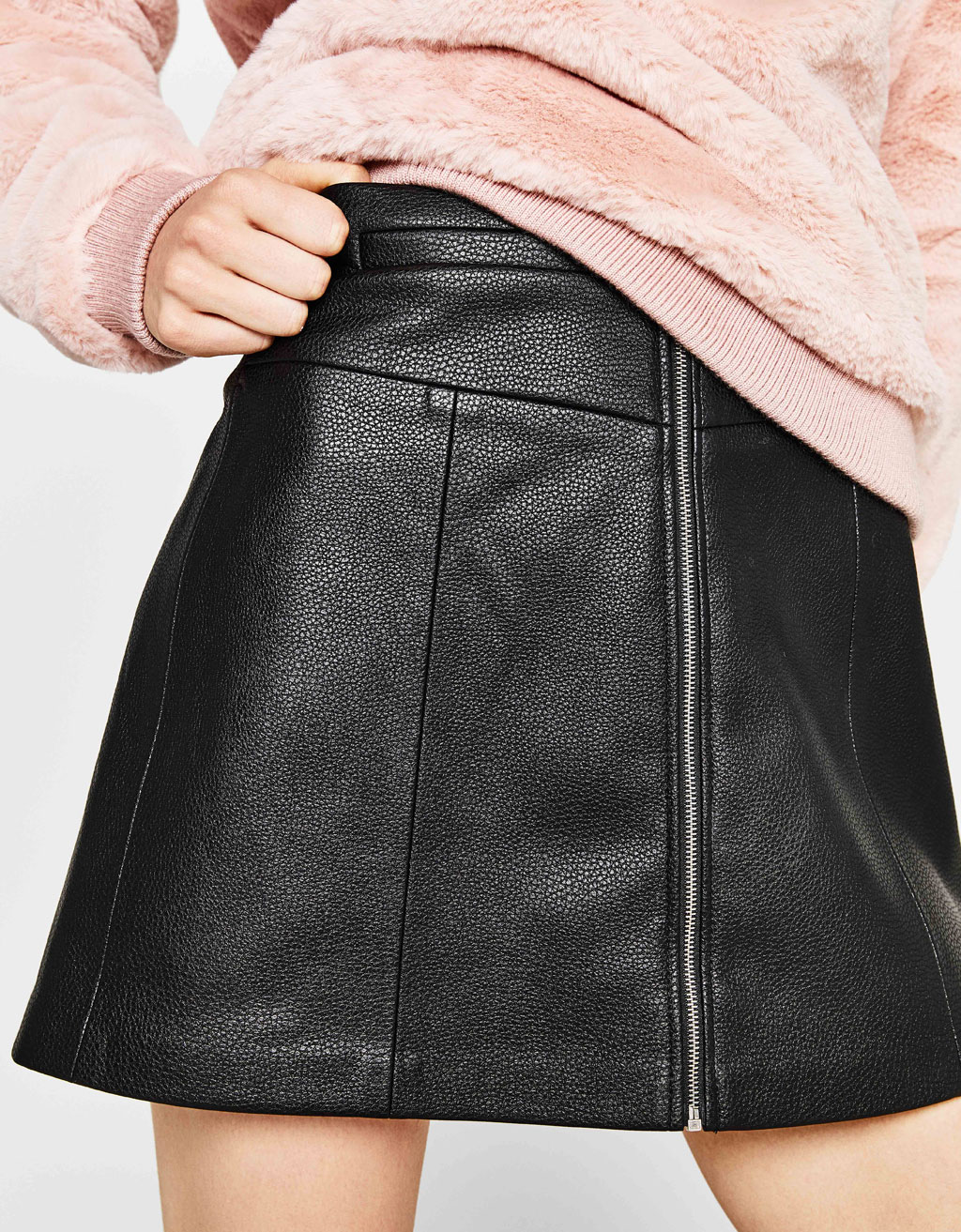 A-line mini skirt with zip