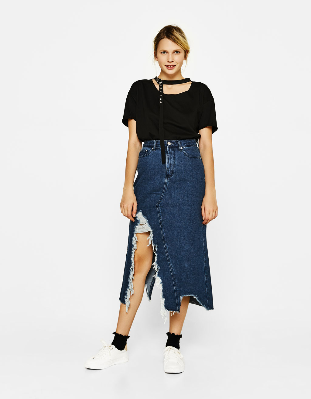 Long ripped denim skirt
