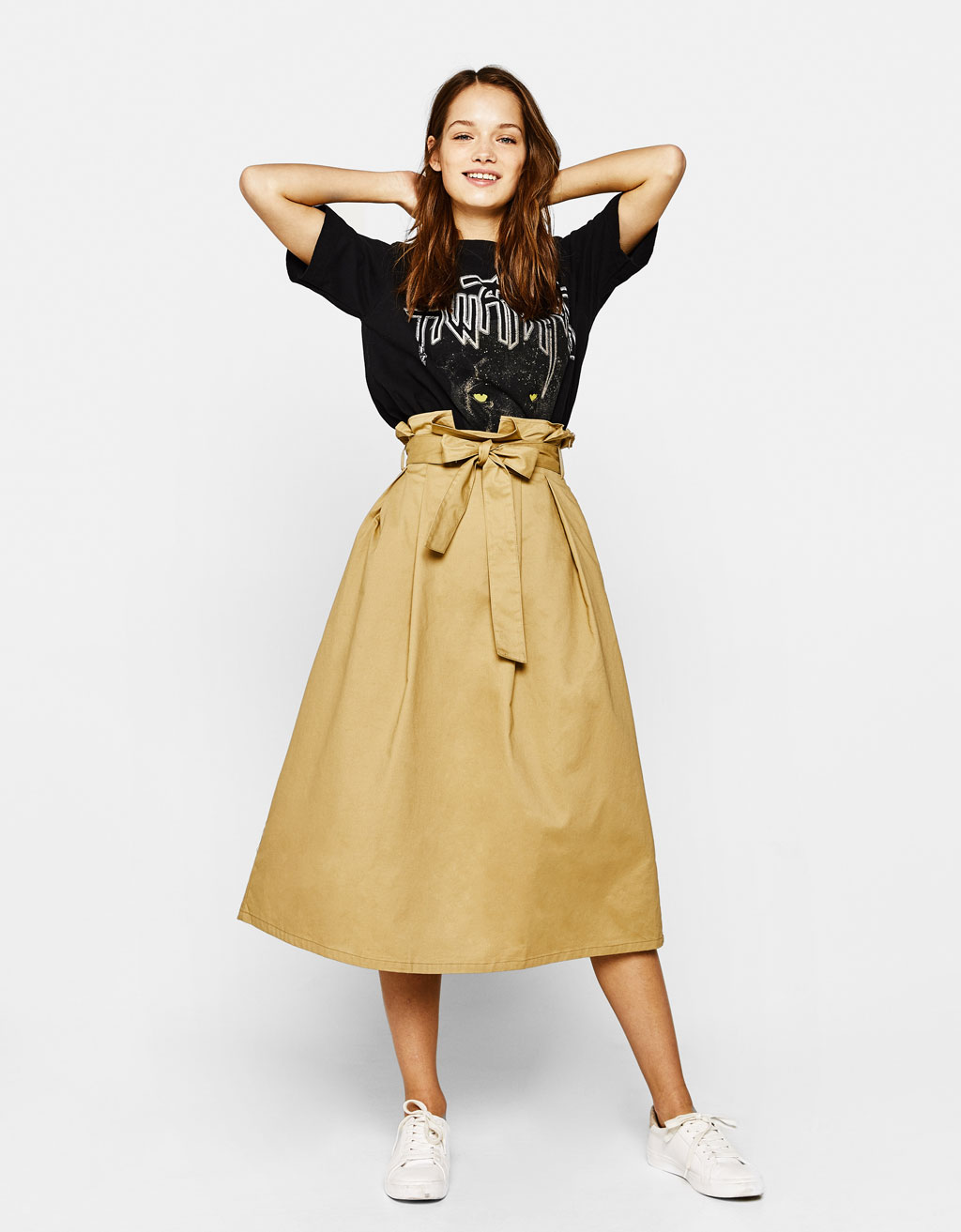 Midi skirt with bow