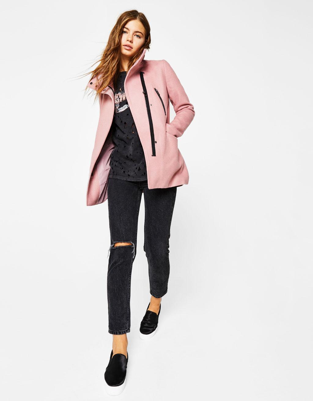Gelumbės paltas su užtrauktukais