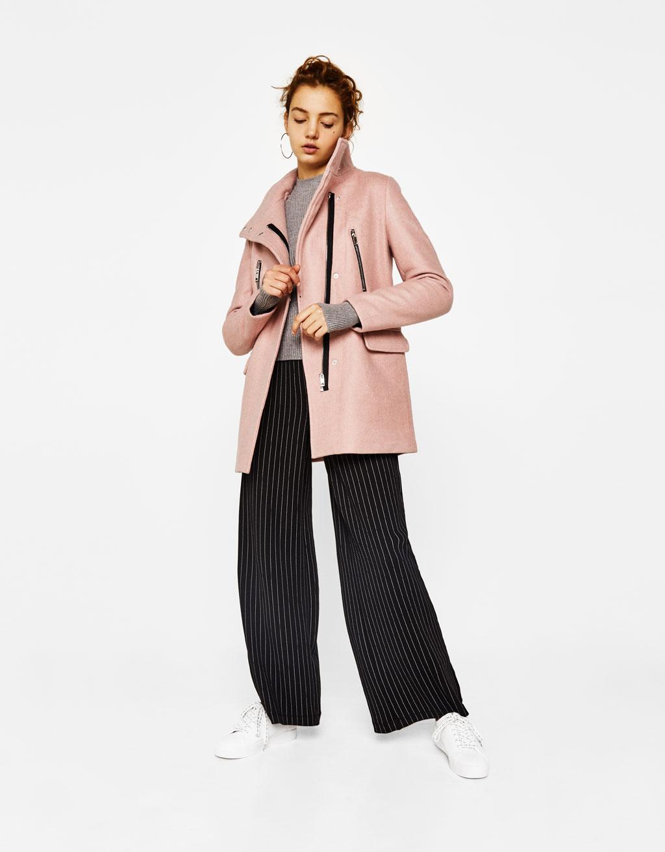Woolly coat with zips