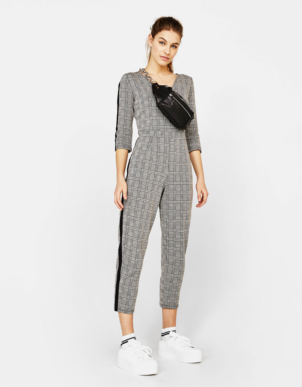 Long checked jumpsuit with side stripes