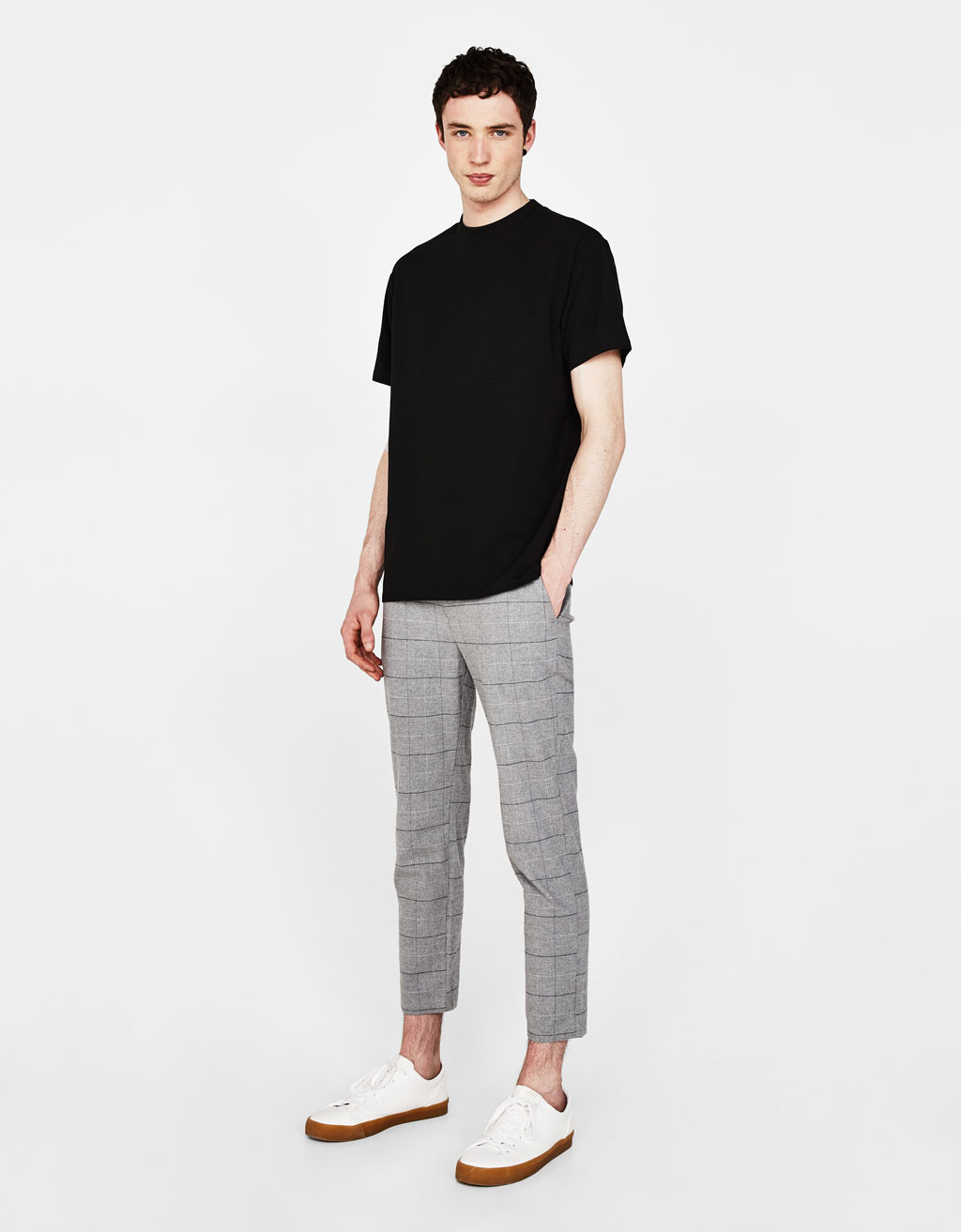 Pantalon slim 7/8 à carreaux