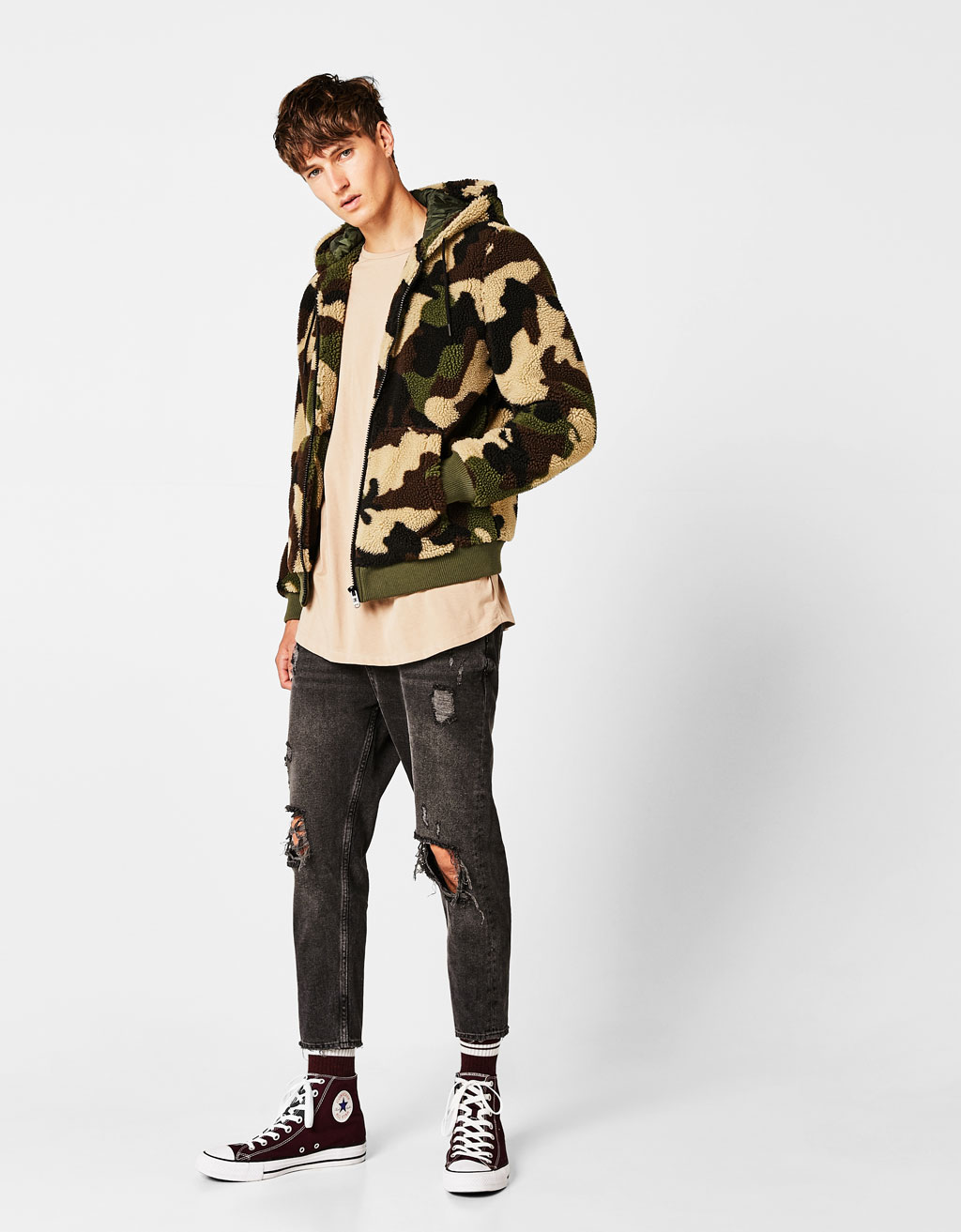 Faux shearling camouflage jacket